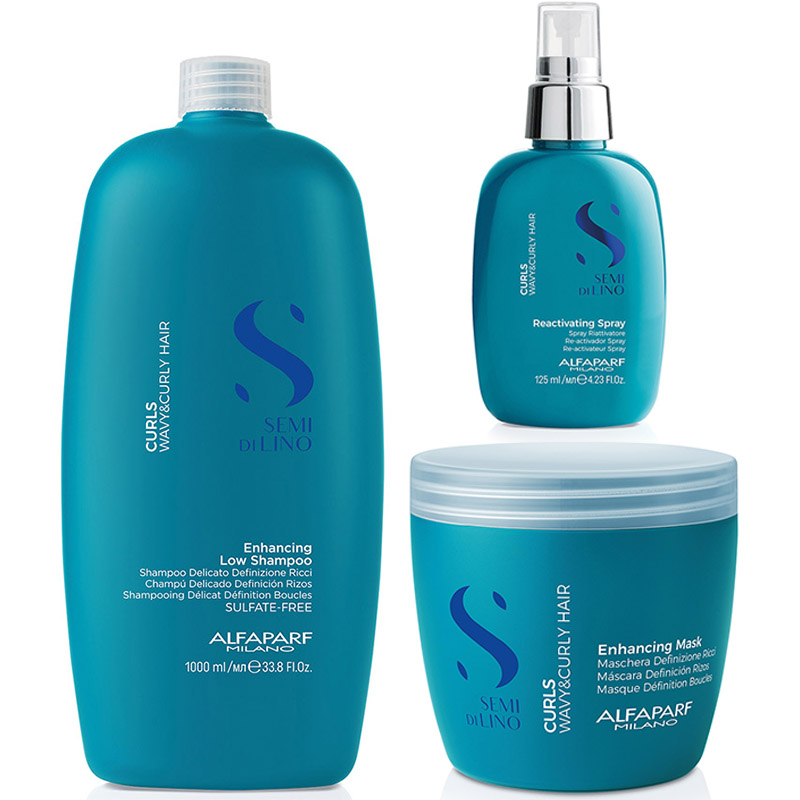 Pachet par cret sau ondulat Semi di Lino Curls - Sampon 1000ml, Masca 500ml, Spray 125ml Alfaparf